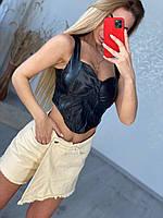 Шикарный кожаный корсет -топ