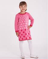 Теплое платье для девочки в горохи, полушерсть, тм Лютик, размер 86