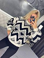 Жіночий теплий в'язаний светр з принтом, фото 1