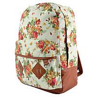 Женский рюкзак в цветочный принт CC5473 Бежевый