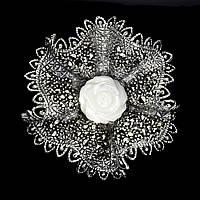 Серебряная Брошь с натуральным Перламутром и Марказитами, фото 1