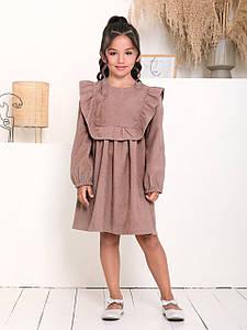 Вельветове сукню з рюшами для дівчинки CD-452. Розмір 122-152