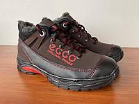 Чоловічі зимові кросівки чорні червоні на хутрі (код 7170)