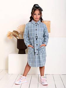 Трикотажне смугасте плаття-сорочка з поясом для дівчинки CD-458. Розмір 122-152