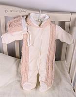 Стильный,нарядный комбинезон для новорожденных+ шапка