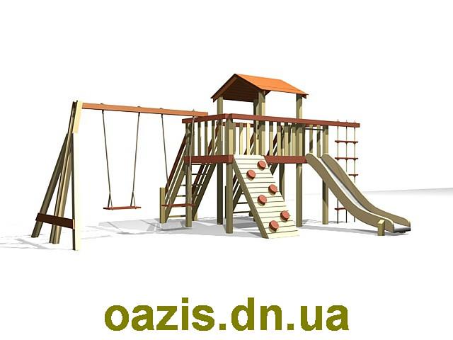 """Детская площадка """"Лодочка"""" с деревянной крышей и качелями от """"Стожар"""""""