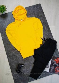 Чоловічий спортивний костюм жовта толстовка і чорні штани (на будь-який сезон)
