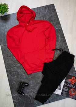 Чоловічий спортивний костюм червона толстовка і чорні штани (на будь-який сезон)