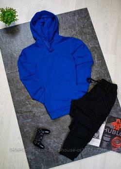 Чоловічий спортивний костюм синій толстовка і чорні штани (на будь-який сезон)