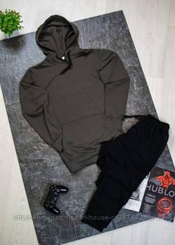 Чоловічий спортивний костюм хакі толстовка і чорні штани (на будь-який сезон)