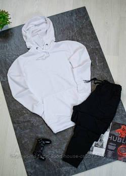 Чоловічий спортивний костюм біла толстовка і чорні штани (на будь-який сезон)