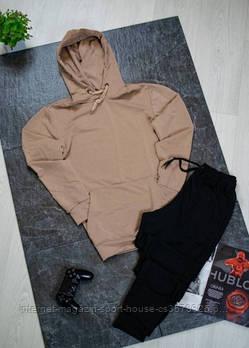 Чоловічий спортивний костюм бежева толстовка і чорні штани (на будь-який сезон)