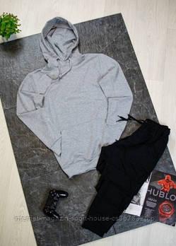 Чоловічий спортивний костюм сіра толстовка і чорні штани (на будь-який сезон)