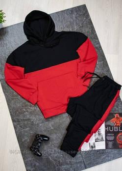 Чоловічий спортивний костюм чорно червона толстовка і чорні штани з лампасами