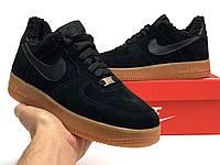 Женские зимние кроссовки Nike Air Force (Черный) К12349 повседневная дышащая обувь на меху