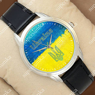 Патриотичные наручные часы Украина Ukraine Flag Silver/Black 1053-0093
