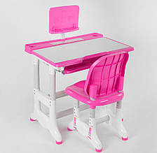 Парта-стіл зі стільчиком з висувною полицею J 55701 регулюється висота і кут нахилу стільниці, рожева