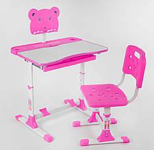 Дитяча парта зі стільцем регулюється висота і кут нахилу стільниці, є підставка P 1140, колір рожевий