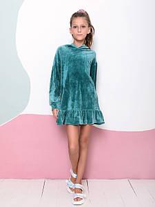 Велюрову сукню з капюшоном для дівчинки CD-431. Розмір 122-140