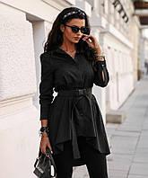 Стильна жіноча подовжена сорочка з поясом Rse785