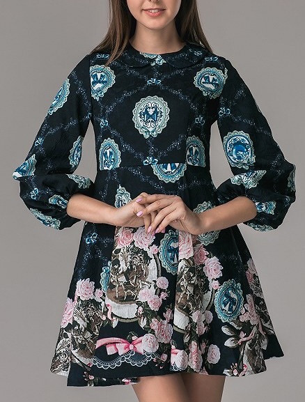 Платье мини клеш синее бантики Dolce&Gabbana