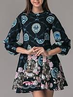 Платье мини клеш синее бантики Dolce&Gabbana, фото 1