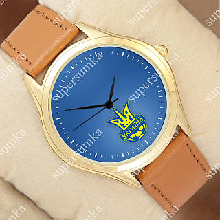 Молодежные наручные часы Украина футбол Gold/Brown 1053-0098