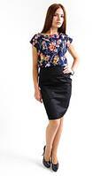 Офисная женская юбка-карандаш в черном цвете