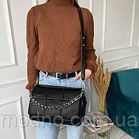 Жіноча шкіряна сумка на та через плече з ланцюжком Polina & Eiterou чорна, фото 3
