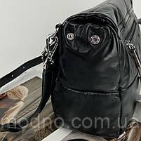 Жіноча шкіряна сумка на та через плече з ланцюжком Polina & Eiterou чорна, фото 5