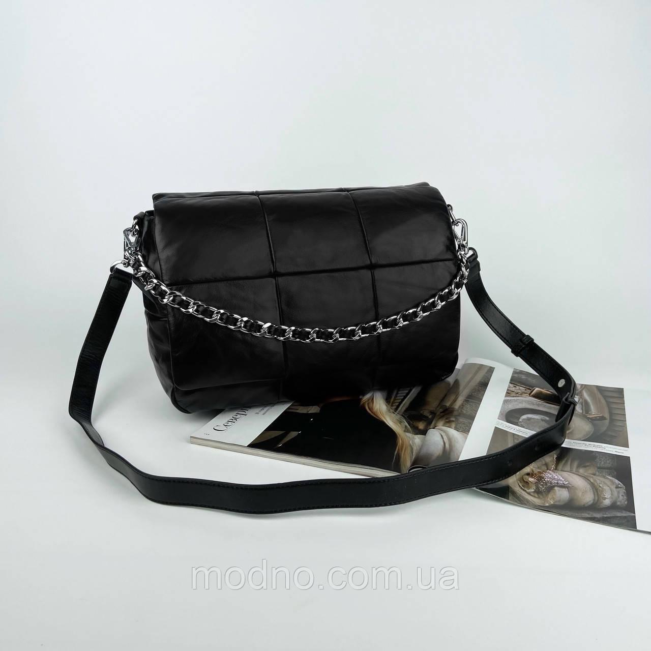 Женская кожаная сумка на и через плечо c цепочкой Polina & Eiterou черная
