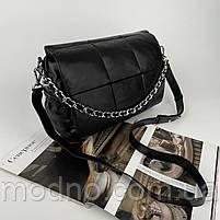 Жіноча шкіряна сумка на та через плече з ланцюжком Polina & Eiterou чорна, фото 4
