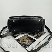 Женская кожаная сумка на и через плечо c цепочкой Polina & Eiterou черная, фото 8