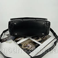 Жіноча шкіряна сумка на та через плече з ланцюжком Polina & Eiterou чорна, фото 8