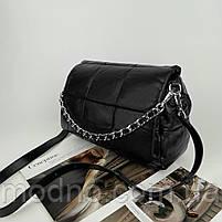 Женская кожаная сумка на и через плечо c цепочкой Polina & Eiterou черная, фото 6