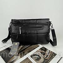 Женская кожаная сумка на и через плечо c цепочкой Polina & Eiterou черная, фото 7