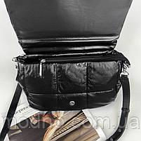 Жіноча шкіряна сумка на та через плече з ланцюжком Polina & Eiterou чорна, фото 9