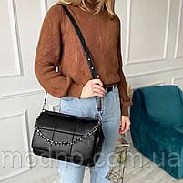Жіноча шкіряна сумка на та через плече з ланцюжком Polina & Eiterou чорна, фото 2