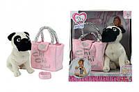 Собачка Мопс Chi Chi Love (5895932)  с сумочкой и браслетом для девочки, 20 см, 5+