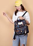 Рюкзак женский черный перья, фото 3