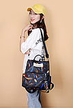 Рюкзак женский черный перья, фото 5