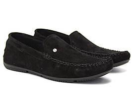 Замшевые мокасины черные мужская обувь Rosso Avangard M4 Black Vel Perf