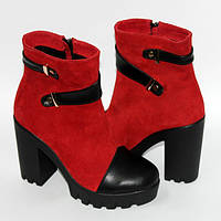 Женские ботинки на высоком каблуке  и тракторной подошве, натуральная кожа и замш