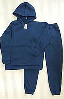 Спортивный теплый мужской костюм, однотонный трикотаж на флисе свободного кроя oversize синий размер М-ХL