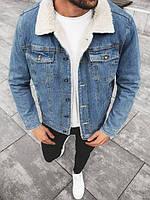 Куртка мужская джинсовая на овчине Ewes синяя   Джинсовка осенняя весенняя демисезонная ЛЮКС качество