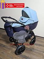 Детская коляска 2 в 1 Classik ( Классик) Victoria Gold эко кожа синий