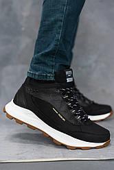 Мужские кроссовки кожаные зимние черные Splinter Б 0520 на меху