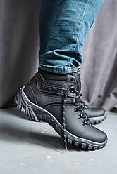 Мужские кроссовки кожаные зимние черные Splinter Б 4211 на меху