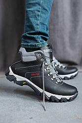 Мужские кроссовки кожаные зимние черные Splinter Б 3212 на меху