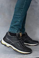 Мужские кроссовки кожаные зимние черные Splinter Б 1214 на меху